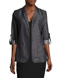 Ellen Tracy Roll Tab Sleeved Blazer Indigo