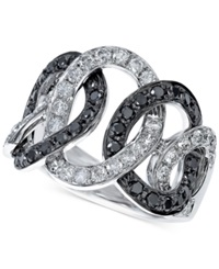 Effy Collection Effy Black And White Diamond Entwined Circle Ring 1 1 3 Ct. T.W. In 14K White Gold