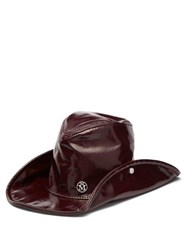 Maison Michel Enrico High Shine Pvc Hat Burgundy
