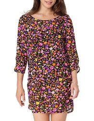 Anne Cole Rosebud Boatneck Tunic Cover Up Multi Colored