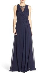 Women's Eliza J Embellished Chiffon Fit And Flare Gown