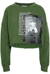 Each X Other Cropped Embroidered Printed French Cotton Terry Sweatshirt Leaf Green