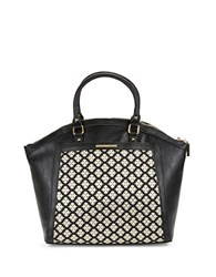 Kensie Floral Trimmed Faux Leather Tote