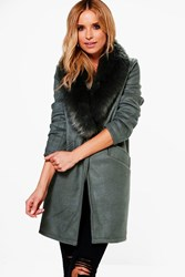 Boohoo Alana Wool Look Faux Fur Collar Coat Khaki