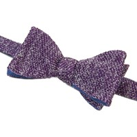 40 Colori Aubergine And Silver Double Threaded Linen And Silk Knitted Butterfly Bow Tie