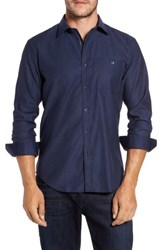 Bugatchi Men's Trim Fit Heathered Sport Shirt Navy