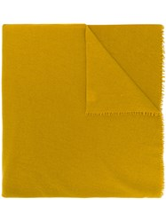Faliero Sarti Oversized Fringed Scarf Yellow And Orange