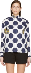 Kenzo White And Navy Polka Dot Button Up Shirt