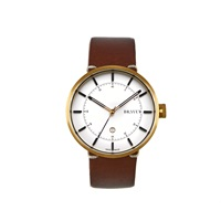 Bravur Watches Gold With White Dial And Brown Strap Gold Brown