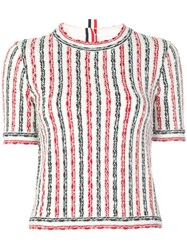 Thom Browne Striped Knitted Top Red
