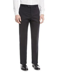 Emporio Armani Basic Flat Front Wool Trousers Navy