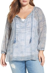 Lucky Brand Plus Size Women's Blue Maze Sheer Peasant Blouse