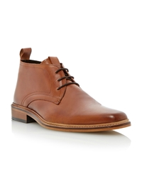 Dune Montenegro Lace Up Square Toe Formal Boots Tan