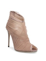 Dolce And Gabbana Tulle Peep Toe Booties Nude Black