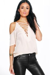 Boohoo Lace Up Open Shoulder Blouse Cream