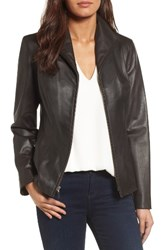 Cole Haan Women's Lambskin Leather Scuba Jacket Dark Espresso
