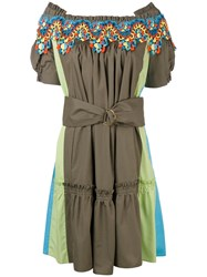 Peter Pilotto Bardot Guipare Lace Trim Dress Women Cotton Polyester 6 Green