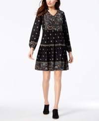 Styleandco. Style Co Printed Fit Flare Dress Created For Macy's Bandana Black