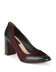 Donna Karan Shelby Leather And Textile Pumps Burgundy