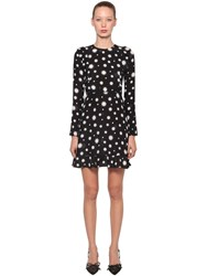 Red Valentino Star Printed Crepe De Chine Mini Dress Black White