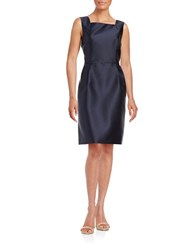 Ellen Tracy Satin Sheath Dress Navy
