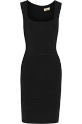 Issa Bead Embellished Ribbed Stretch Jersey Dress Black