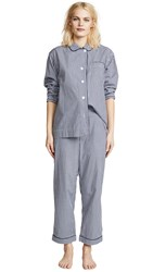 Sleepy Jones Large Gingham Bishop Pajama Set Navy