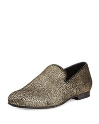 Jimmy Choo Sloane Metallic Textured Fabric Slipper Gold
