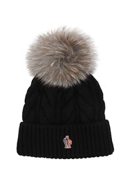 Moncler Wool And Cashmere Cable Knit Hat Black