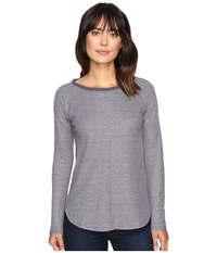 Lilla P Long Sleeve Raglan Navy Waffle Women's Clothing Gray