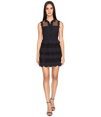 Red Valentino Cady Tech And Soft Point D'esprit Dress Blue