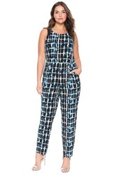 Plus Size Women's Eloquii Plaid Print Sleeveless Jumpsuit