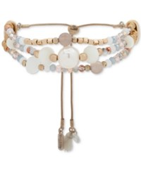 Lonna And Lilly Gold Tone Multicolor Beaded Triple Row Slider Bracelet Ivory