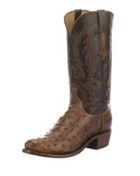 Lucchese Elgin Ostrich Cowboy Boots Brown