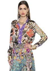 Etro Printed Silk Georgette And Lurex Shirt