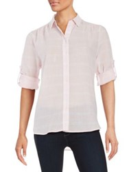 Lord And Taylor Plaid Button Front Shirt Petal Pink