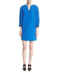 Tibi Stretch Crepe Shift Dress Blue