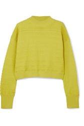 3.1 Phillip Lim Cropped Knitted Sweater Chartreuse Gbp