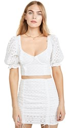 For Love And Lemons Sand Dollar Lace Up Top Blanc