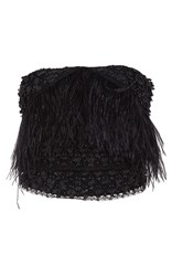 Sally Lapointe Lace Feather Embroidered Bustier Black