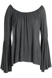 Bailey 44 Off The Shoulder Gathered Jersey Top Anthracite