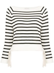 Moncler Striped Fitted Top White
