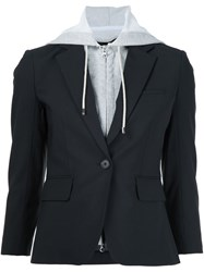 Veronica Beard Layered Hooded Blazer Black