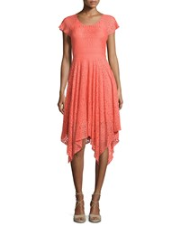 Neiman Marcus Lace Handkerchief Hem Short Sleeve Dress Coral