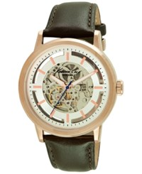 Kenneth Cole New York Men's Automatic Brown Leather Strap Watch 46Mm 10026783 Rose Gold
