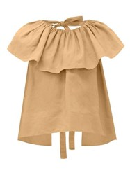 Loup Charmant Dominica Ruffle Neck Cotton Blouse Light Brown