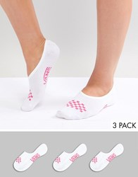 Vans Invisible Canoodle 3 Pack Socks White Wild Orchid