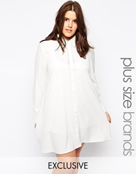 Alice And You Plain Embroidered Shirt Dress White
