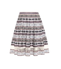Alexander Mcqueen Silk Blend Jacquard Striped Skirt Multicoloured