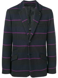 Class Roberto Cavalli Striped Button Blazer Black